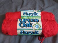 New Vintage Lot of 2 Skeins of Green Oak Brand Yarn 4024 Red 4-Ply 100% Acrylic