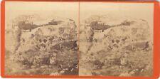 Monaco Panorama sur le Rocher Photo Stereo Vintage albumine ca 1860