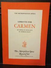 Libretto for Carmen, Bizet, Metropolitan Opera, Book/Booklet, 1956
