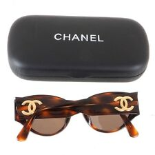 Vintage Chanel Excellent Turtoise Pattern Gold Logo Sunglasses.NFV4626
