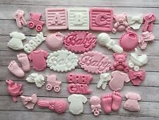 36 Pink & white Baby girl christening edible cupcake toppers Baby Shower