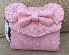 NWT Disney Parks Loungefly Minnie Maus rosa Geldbörse Pailletten selten Ohren Sc...