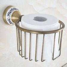 Antique Brass Wall Mounted Bathroom Tissue Boxes Paper Roll Holder Basket aba779