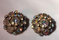 Vintage Eugene Clip Earrings Signed Rhinestones Beautiful