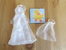Barbie Doll Clothing WEDDING GOWN and Veil White Lace Bodice Overlay Bride Dress
