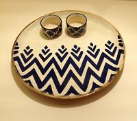 handpainted round serving plate with dips chip ndip tray wooden round dinnerware