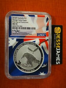2018 $1 WEDGE TAILED SILVER EAGLE NGC NGC MS70 FIRST DAY PRODUCTION FDP MERCANTI