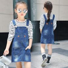 Kids Girls Casual cotton Denim Overalls Jumper Dress Suspender Jeans MIni Skirt
