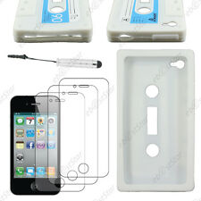Coque SiliconeCassette Blanc Apple iPhone 4S 4+Mini Stylet+3 Film écran