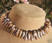 FICO BIWA marrone perle Collana di SIGARO forma alta moda grande naturale Ocean
