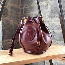 Must de Cartier Vintage Burgundy Leather Bucket Bag
