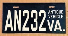 VIRGINIA LICENSE PLATE, ANTIQUE VEHICLE AN232, 12x6, VERY EARLY VA LOW NUMBER