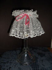 """Vintage Homco 1.5"""" Clear Glass Candle Holder. 2 Pieces Lace Lamp Euc 25+ Yrs"""
