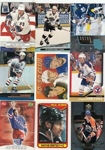WAYNE GRETZKY  a lot of 9 DIFFERENTS CARDS INSERTS near mint   LOT 14