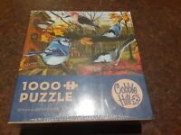 Blue Jays and Friends, 1000 Pc Random Cut Jigsaw Puzzle by Cobble Hill