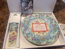 "New Chintz Charming Fine Porcelain China 10"" Cake Plate & Server Set Smithsonian"