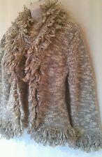 Ladies MONSOON wool cardigan sz14-16 in VGC! Beige,chunky,lovely!