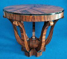 Petite Table Rond en Bois '900 Style Art Déco En Ronce De Acajou - France Xx Sec