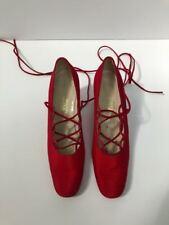 Rare Nwb vintage Saks Fifth Avenue red silk ankle ties heels 7.5-8 N Fabulous!