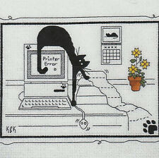 Cat Computer Kats By Kelly Meow.com Cross Stitch Pattern Kit Calico Crossroads