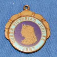 A rare Queen Victoria Diamond Jubilee, 1887 enamelled fob medal, faux spinner