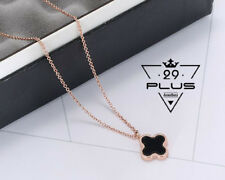 18K Rose Gold GF Double Side 15mm Four Leaf Lucky Flower Pendant Necklace Gift