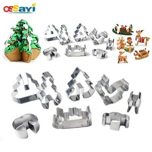 8Pcs/set 3D Christmas Cookie Cutters Stainless Steel Cake Biscuit Baking Mold