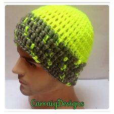 HANDMADE Man neon menswear classic beanie skull hat cap knit crochet RUNNING HAT