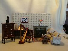 DOLLS HOUSE FURNITURE MIXED LOT LOUNGE/LIVING ROOM &  ACCESSORIES 12TH SCALE