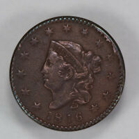 1816 1c CORONET HEAD LARGE CENT - N-2 * HIGH-GRADE DETAIL *ROTATED DIE* LOT#N420