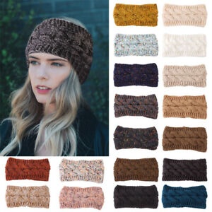 Women Headband Ladies Knitted Crochet Wool Hat Head Wrap Wide Hair Band Warm