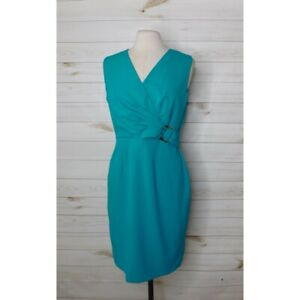 CALVIN KLEIN ~ Size 10 Teal Sheath Dress Gold Embellishment Pleated Waist