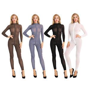 Women Double Zipper Sheer Bodysuit Open Crotch Leotard Jumpsuit Nightwear