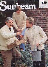 "Sunbeam Aran Knitting  Pattern  430 Mens Sweater Jumper Size 38/44"" Chest Chest"