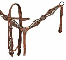 WESTERN SADDLE HORSE HAND PAINTED FEATHER BRIDLE BREAST COLLAR LEATHER TACK SET