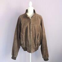 Vintage Polo Ralph Lauren Size XL Mens Brown Suede Bomber Biker Jacket Plaid