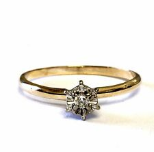 10k yellow gold .04ct illusion head round diamond engagement ring 1.3g estate