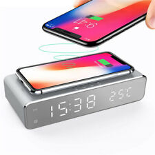 Digital LED Desk Alarm Clock with Phone / Pad Wireless Charger Thermometer Time