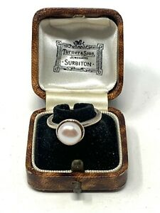Beautiful Heavy Vintage Sterling Silver 925 Cultured Pearl Ring Size O #1166