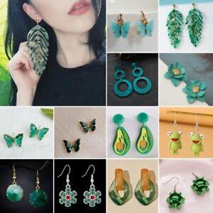 Fashion Green Crystal Statement Earrings Women Drop Dangle Wedding Party Jewelry