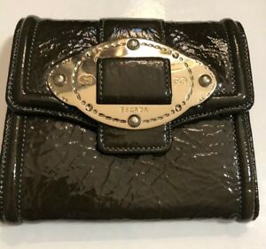 Green Patent Leather Wallet by Escada gold hardware