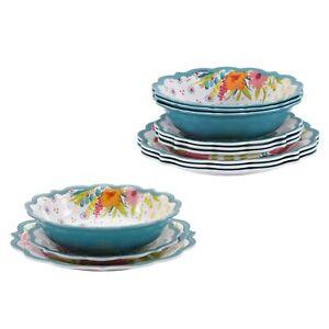 NEW Pioneer Woman Sunny Days 12-Piece Melamine Teal Dinnerware Set