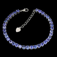 Unheated Round Tanzanite 14K White Gold Plate 925 Sterling Silver Bracelet 8 Ins