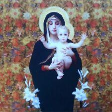 TEX EX ORIGINAL religieuse Icône Madonna of the Lillies Velours Coussin Panneau Multi