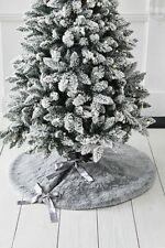 Grey Faux Fur Christmas Tree Skirt 100cm