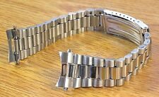 20mm Curved President Style Silver Tone Stainless Metal Watch Band Bracelet
