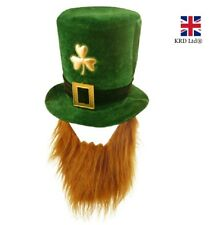 IRISH SHAMROCK HAT WITH BEARD St Patricks Day Novelty Plush Fancy Dress Lucky UK