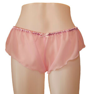Pastel Pink Chiffon Sheer Micro French Knickers sexy lingerie panties lingerie