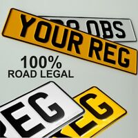 Plates pressed metal embossed car registration number reg plate GB UK Road Legal