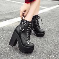 Womens Fashion Punk Buckle Strap Lace Up Gothic Chunky High Heels Ankle Boots